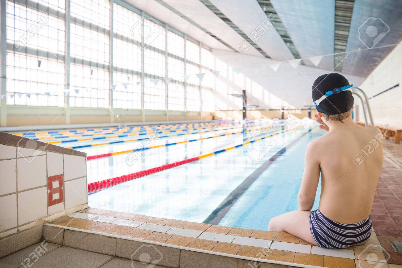 Superior Cute Little Boy Ready To Dive In The Sport Swimming Pool. Indoors. Sport  Activities