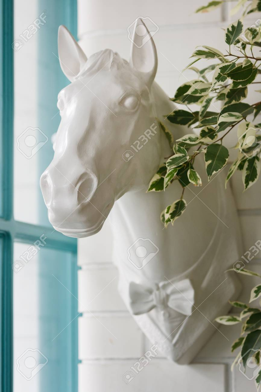 Sculpture Of A Horse S Head With A Bow Tie Is Mounted Directly Stock Photo Picture And Royalty Free Image Image 117856859