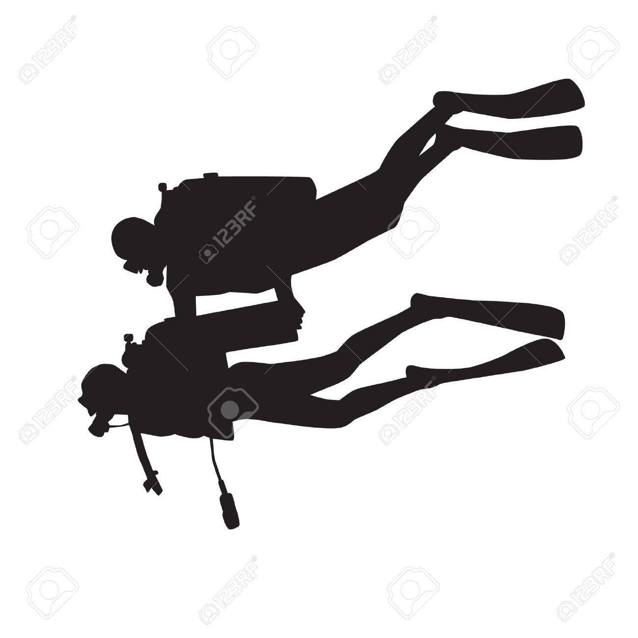 Introduction diving silhouette. Diver with instructor Stock Vector - 2807542