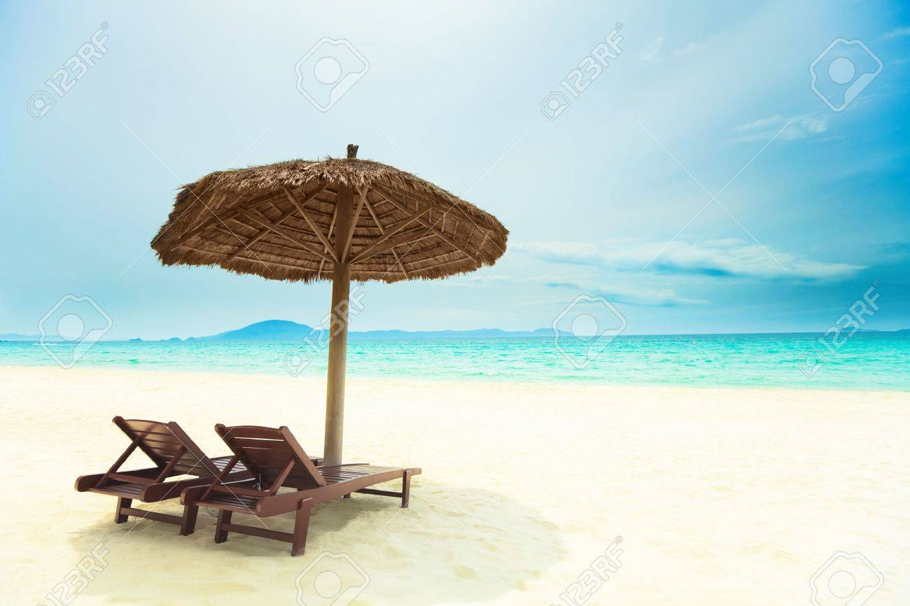 Beach with chairs - Beach Chair Sandy Tropical Beach With Deck Chairs In Sunny Day