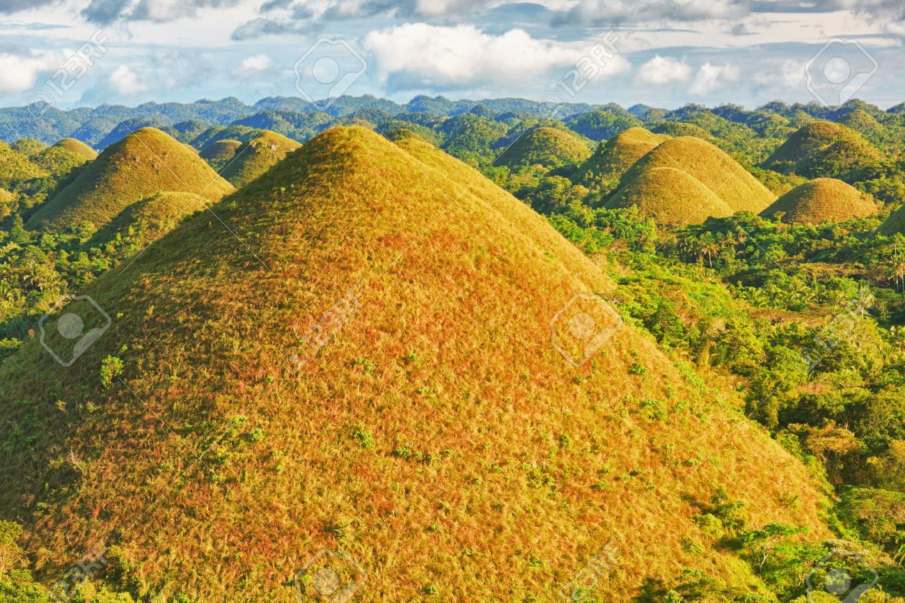 View Of The Chocolate Hills. Bohol, Philippines Stock Photo ...