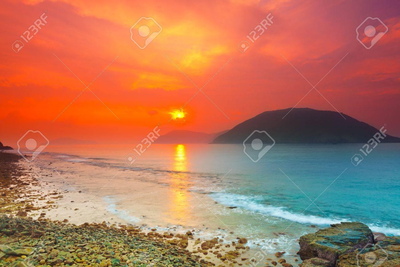 Sunrise over the sea. Con Dao. Vietnam Stock Photo - 14305315