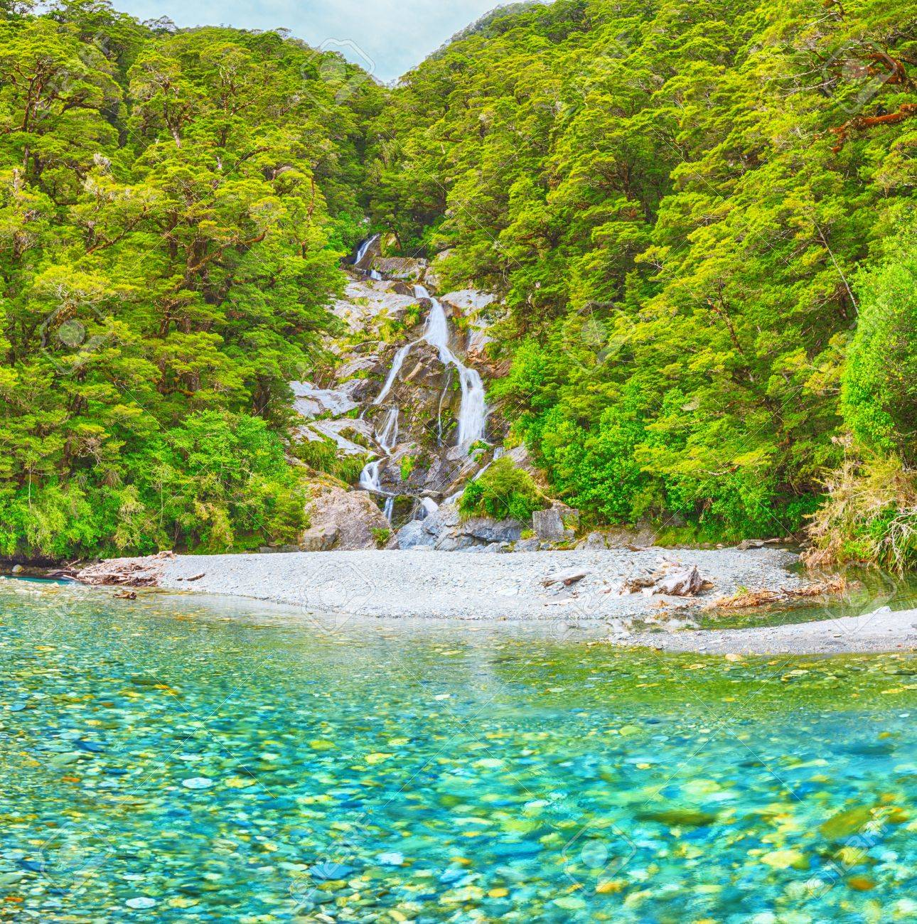 Roaring Billy Falls Haast Pass South Island New Zealand Stock