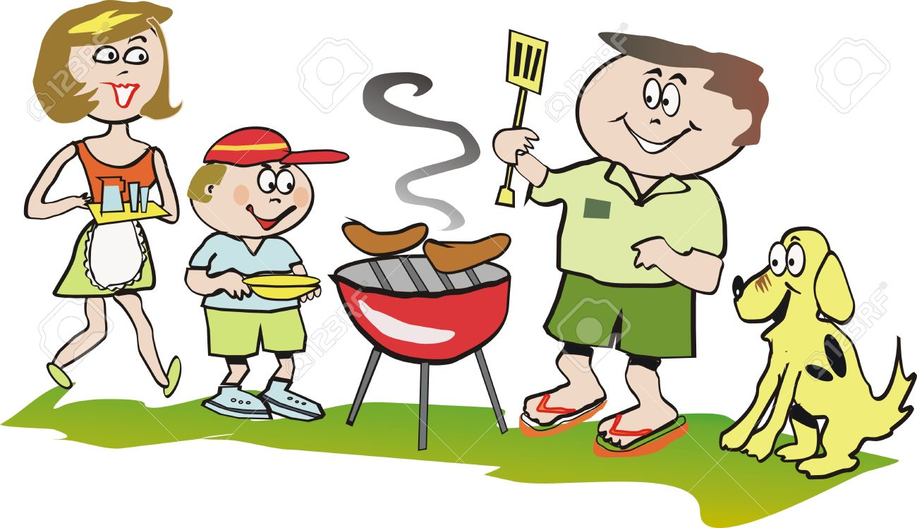 summer barbeque cartoon royalty free cliparts vectors and stock