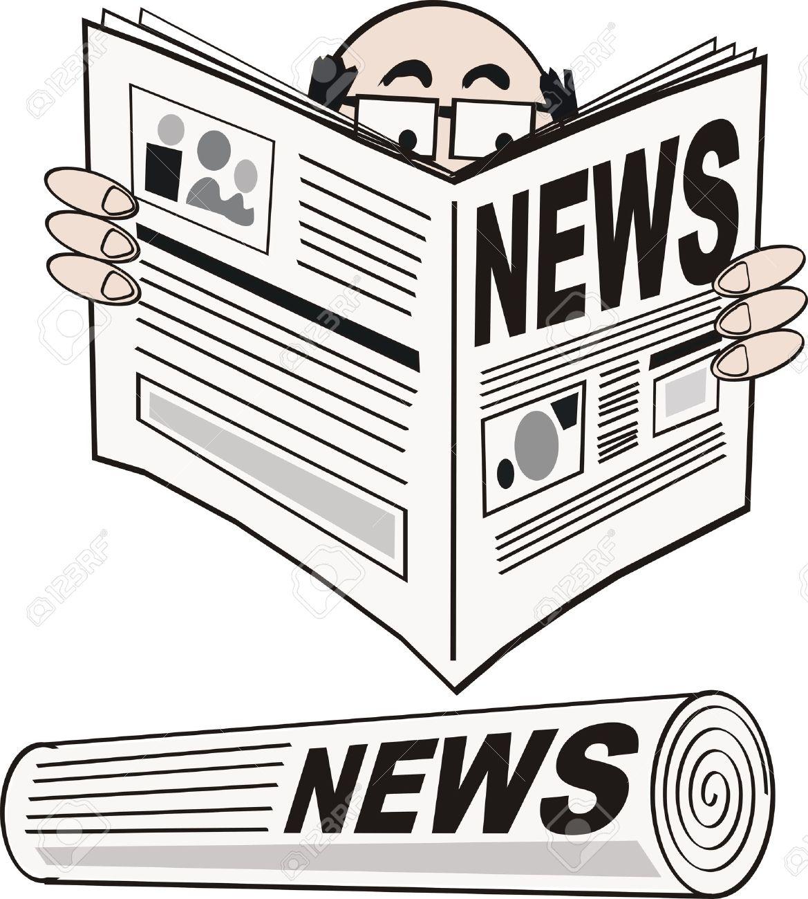 Man reading newspaper cartoon Stock Vector - 6266977