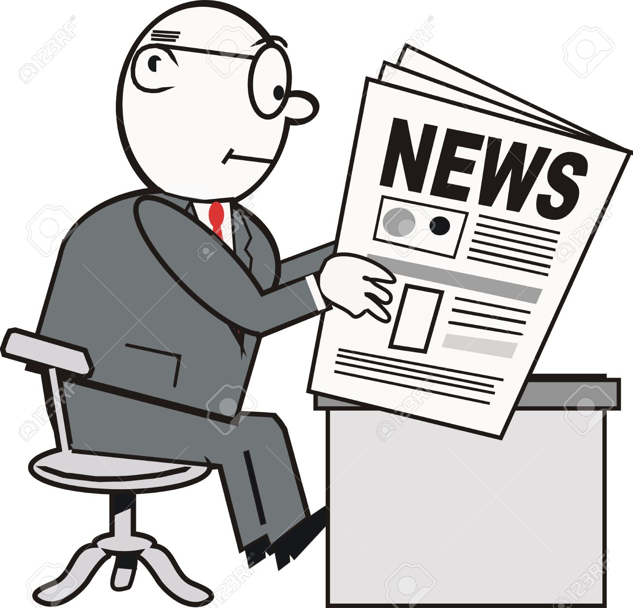 businessman reading newspaper cartoon royalty free cliparts, vectors