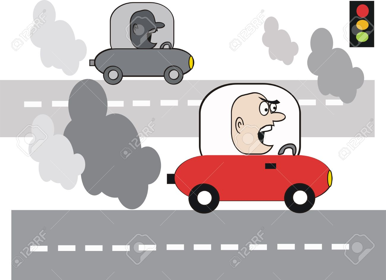 Dibujos Animados De La Contaminación De Coche Ilustraciones