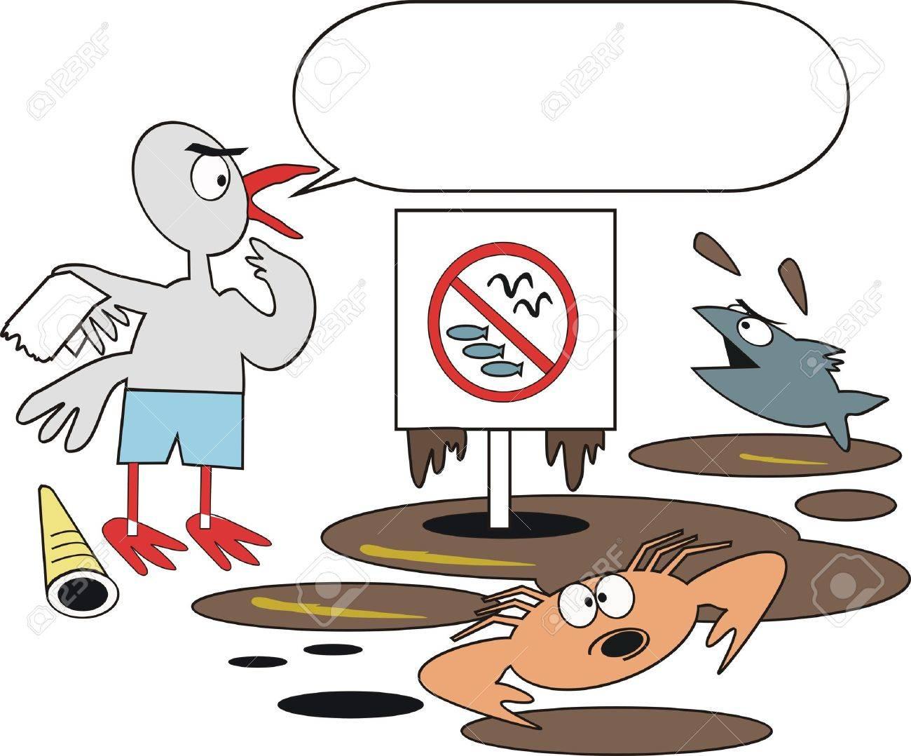 Dibujos Animados De La Contaminación De Aceite Ilustraciones