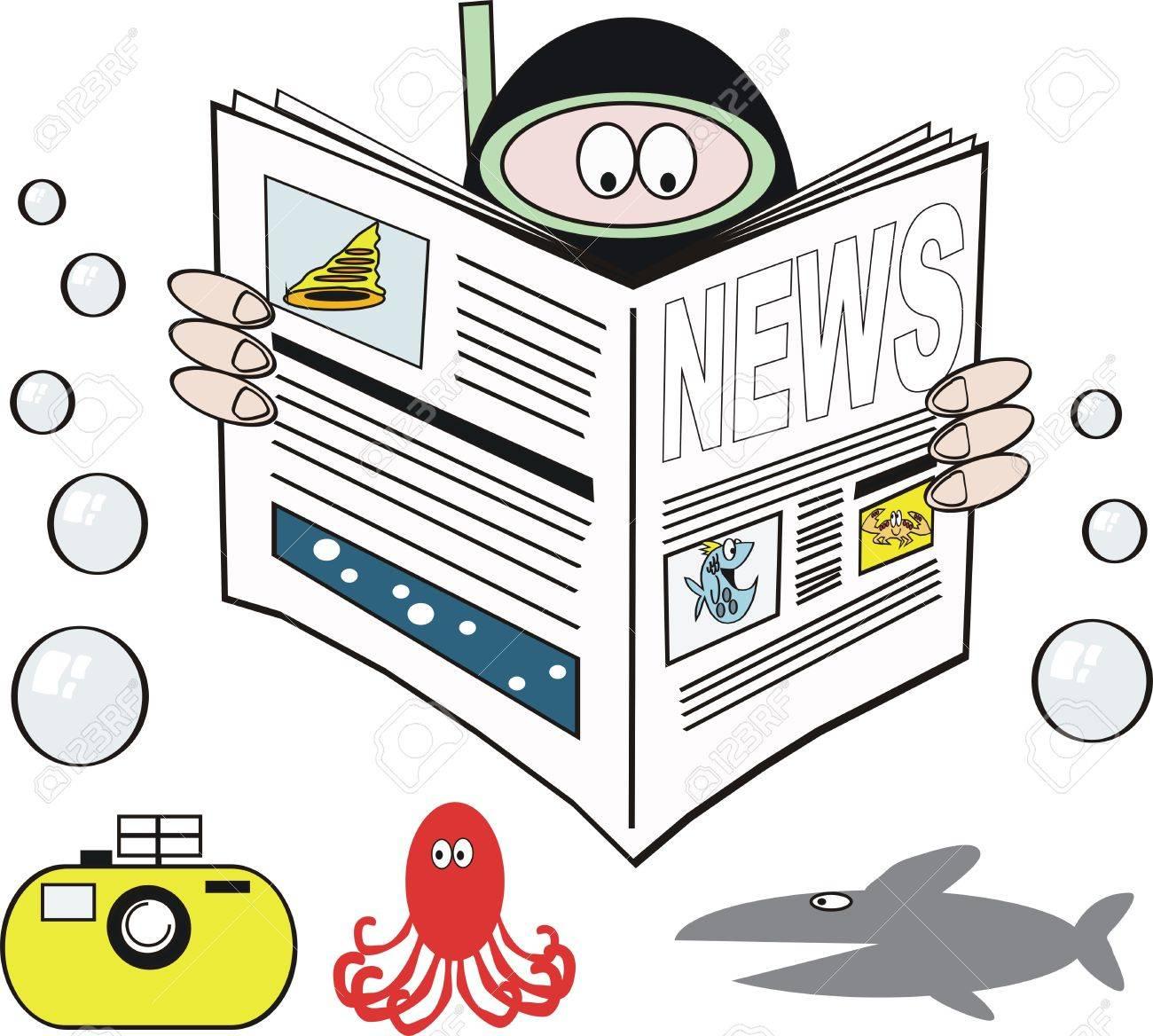 Skindiver reading newspaper cartoon Stock Vector - 7035804