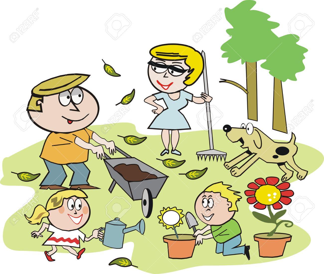 Family Garden Clipart Family Garden Cartoon Vector