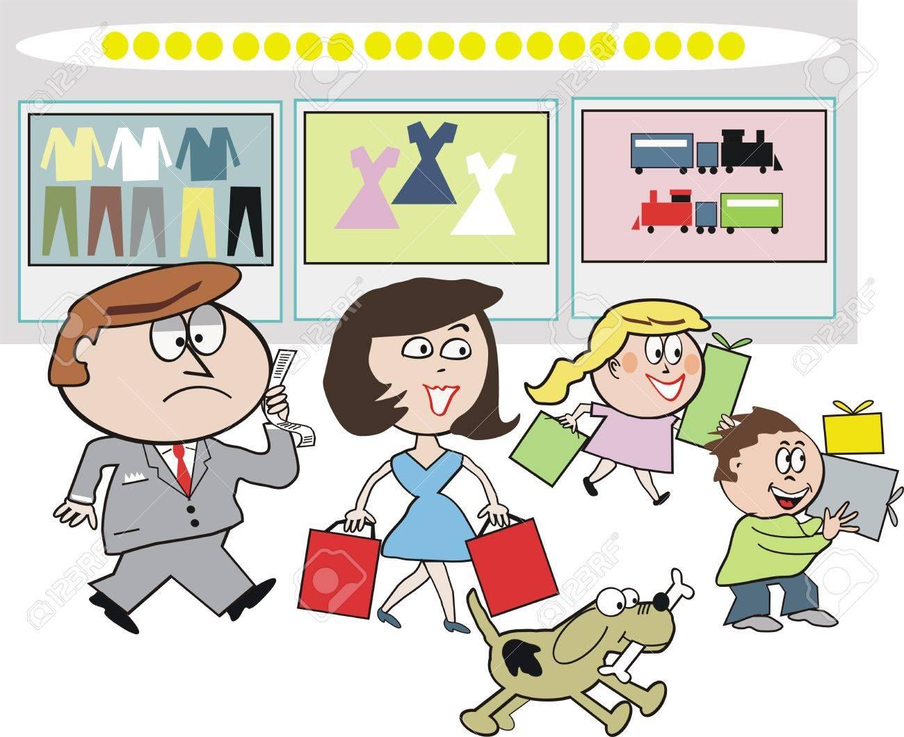 Family shoppingt cartoon Stock Vector - 7305945