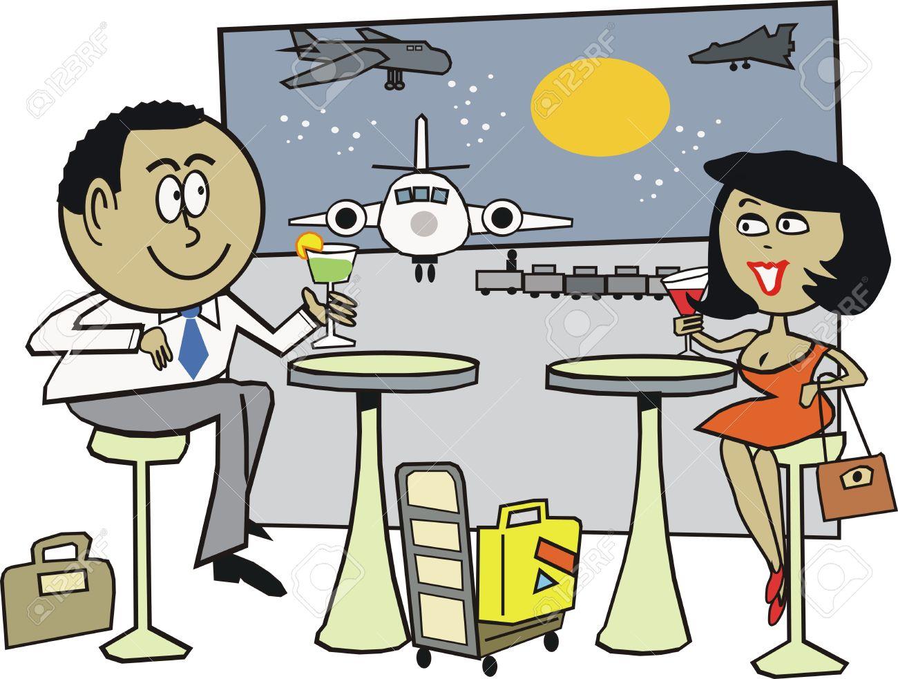 couple at airport cartoon Airport Cartoon Images