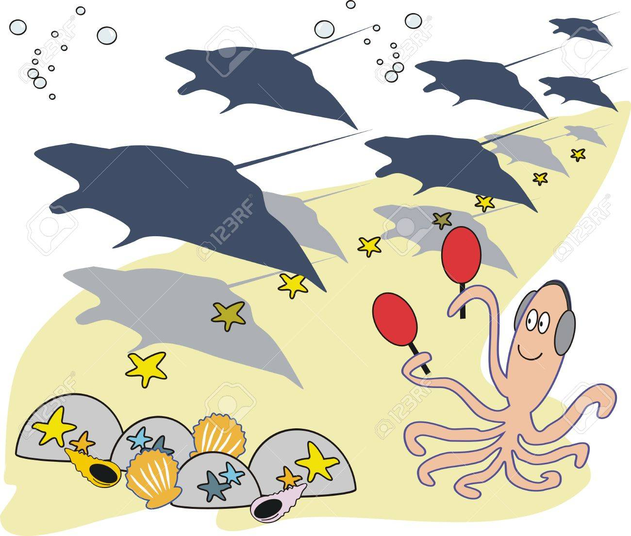 Funny underwater cartoon Stock Vector - 7563943