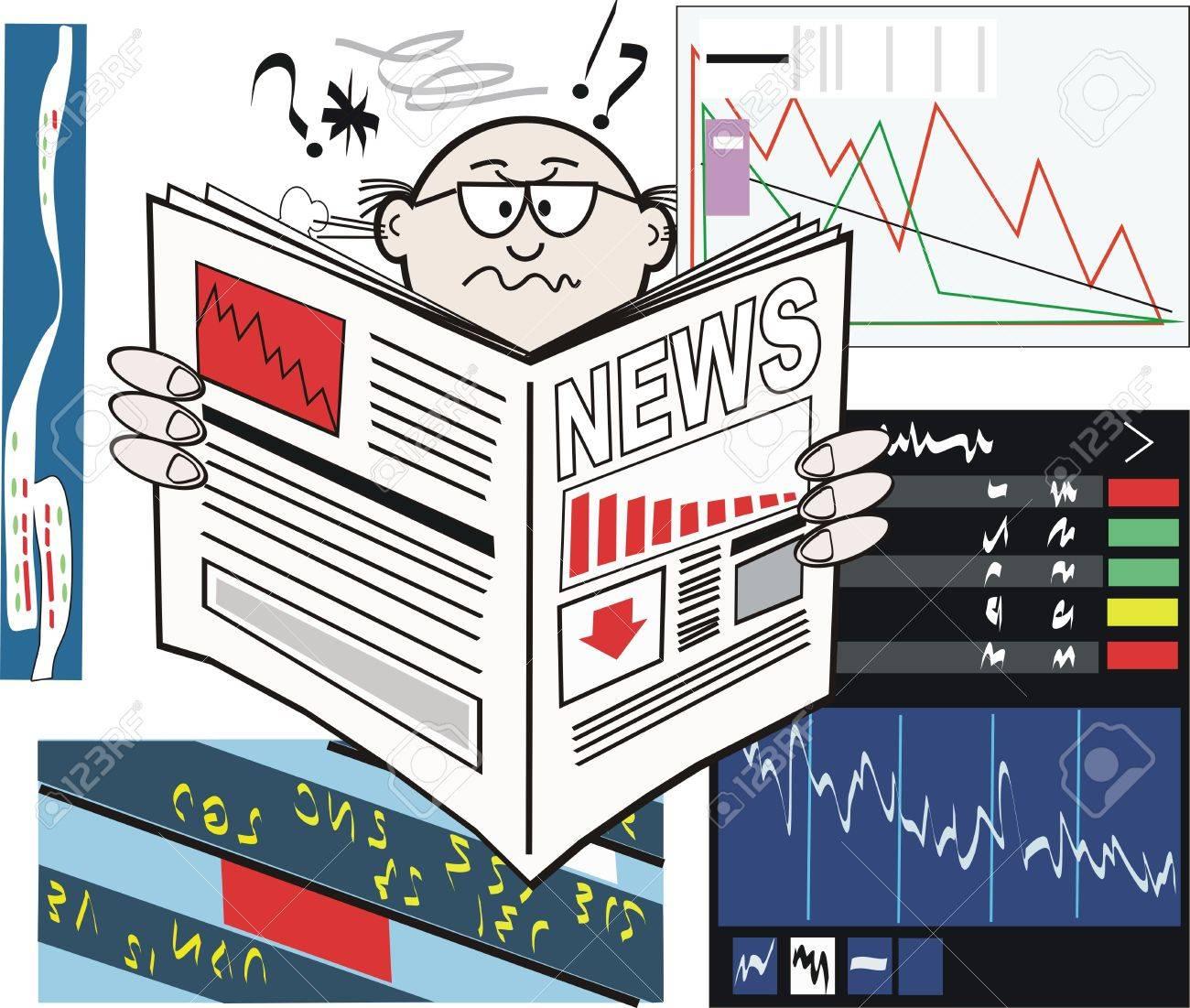 Share market newspaper cartoon Stock Vector - 7646263