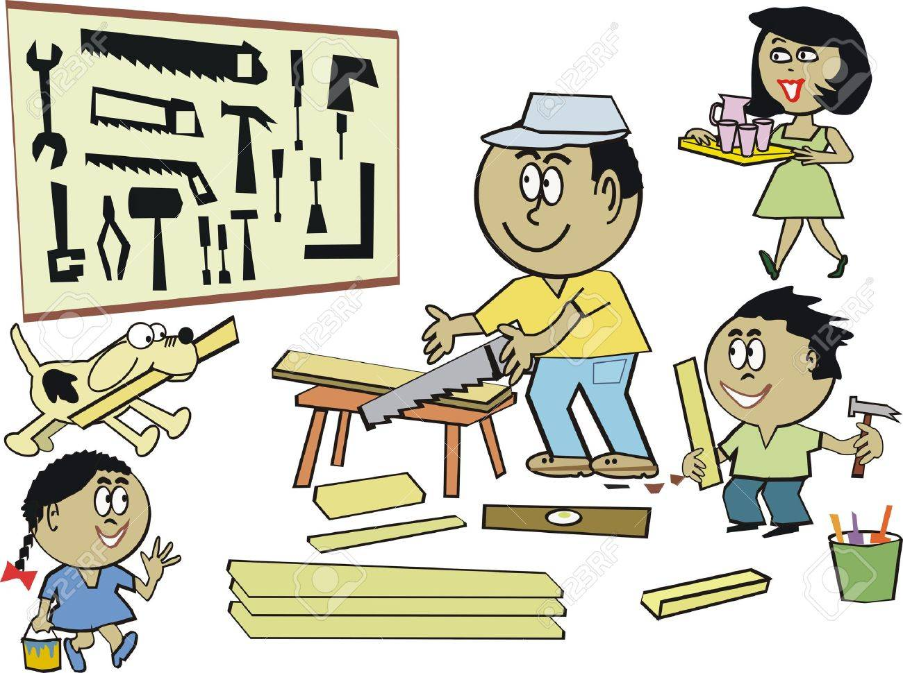 Family home workshop cartoon Stock Vector - 7702133