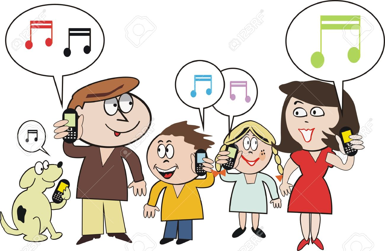 Family mobile phone cartoon Stock Vector - 7702136