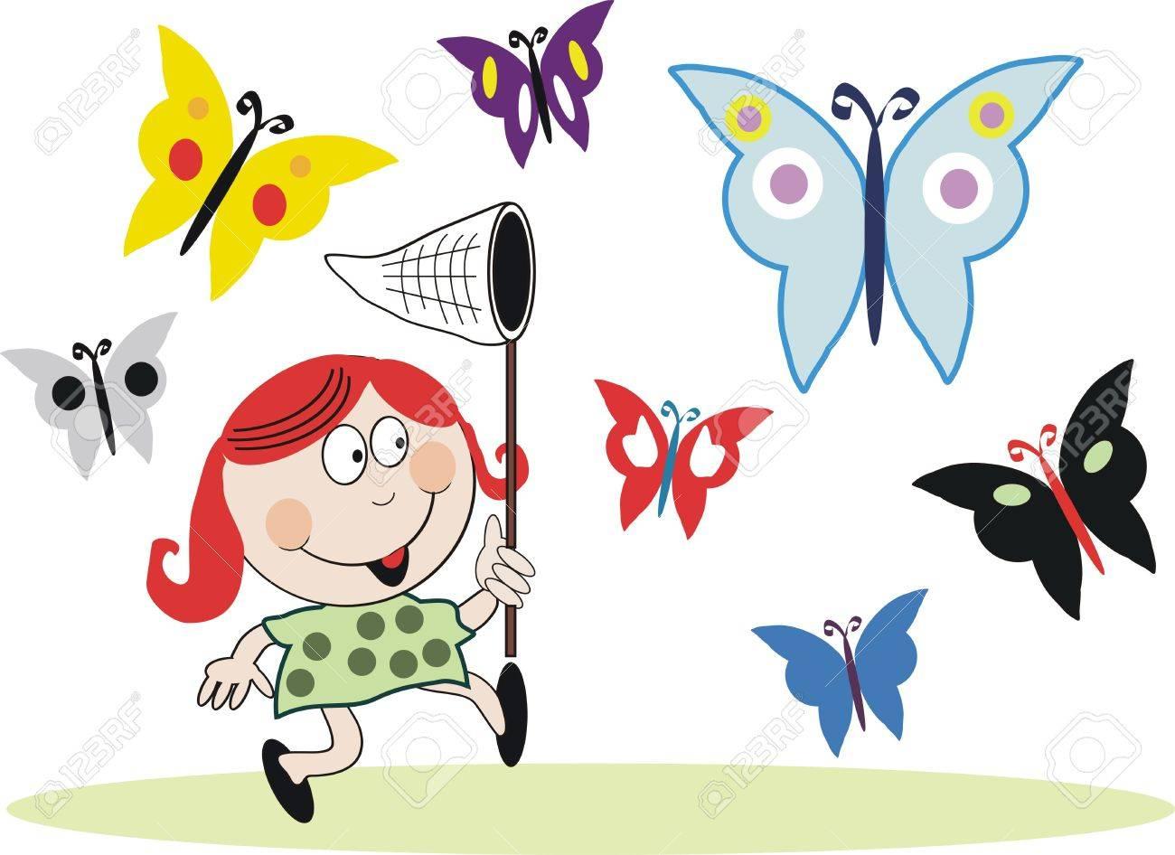 chasing butterflies cartoon royalty free cliparts vectors