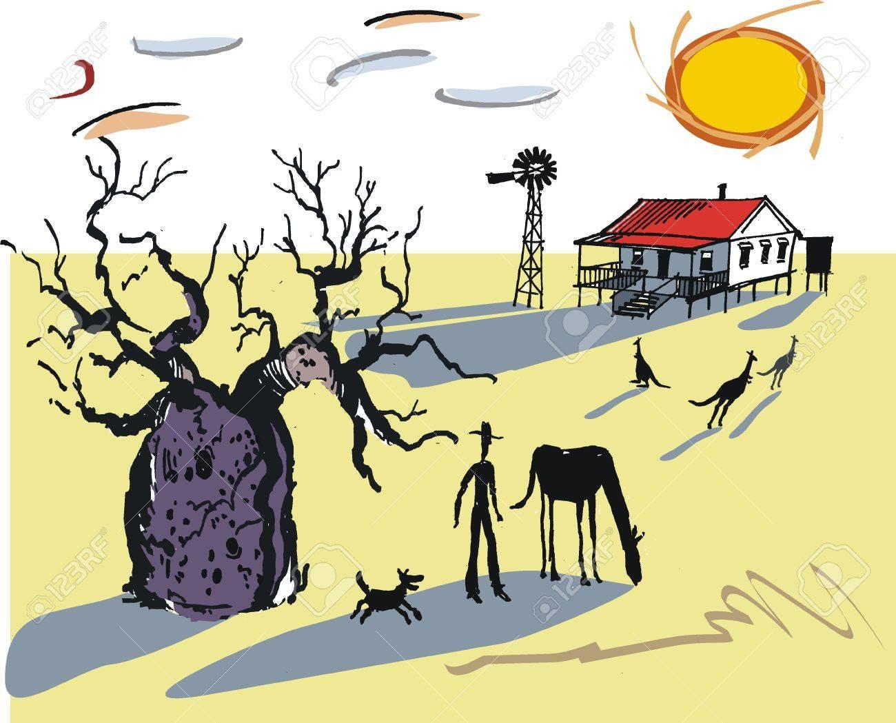 Australian outback illustration Stock Vector - 8560956