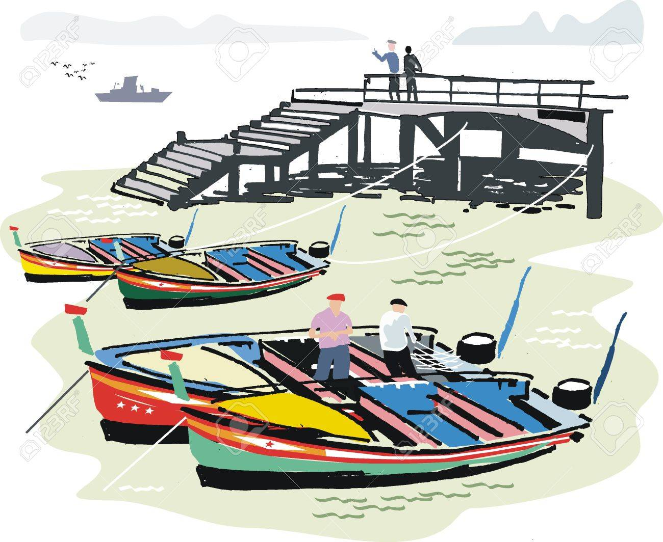 fishing boats in harbor portugal illustration royalty free