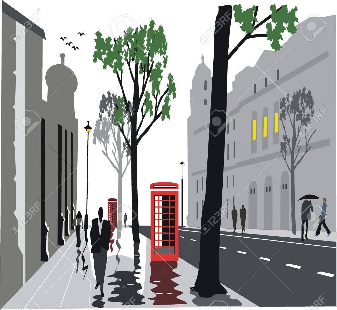 London city street illustration Stock Vector - 8772496