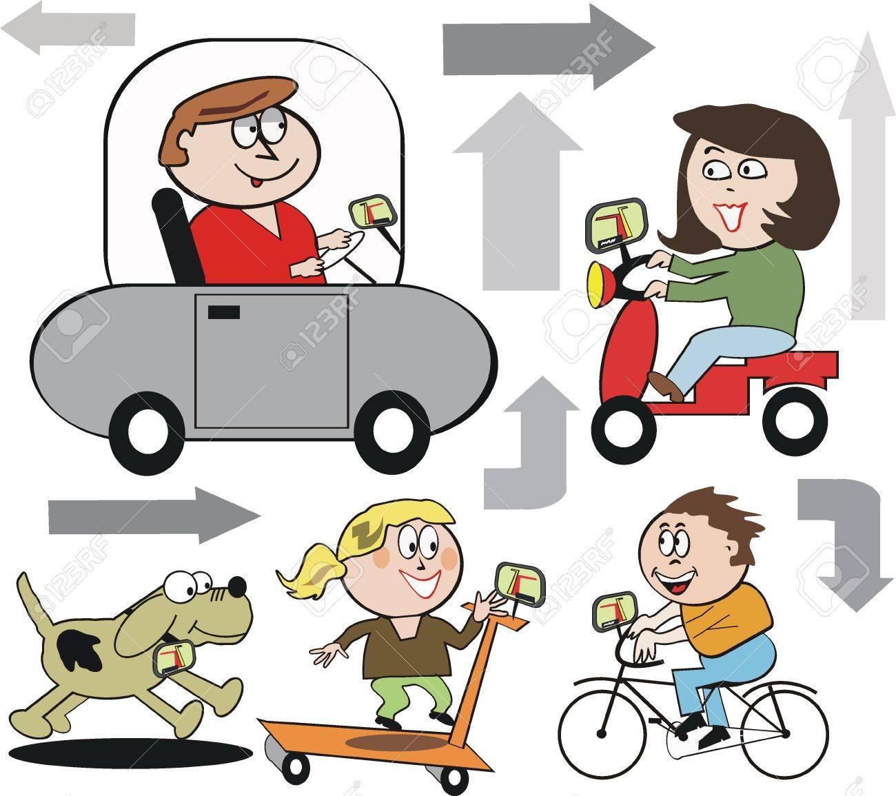 Family navigating cartoon Stock Vector - 9048698