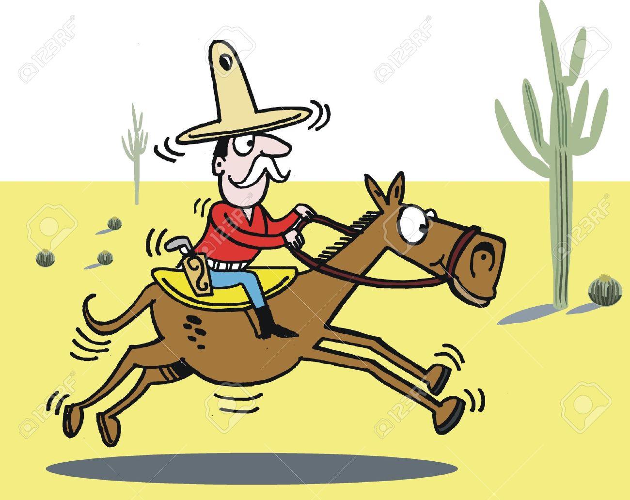 Cowboy on horse cartoon Stock Vector - 9225696