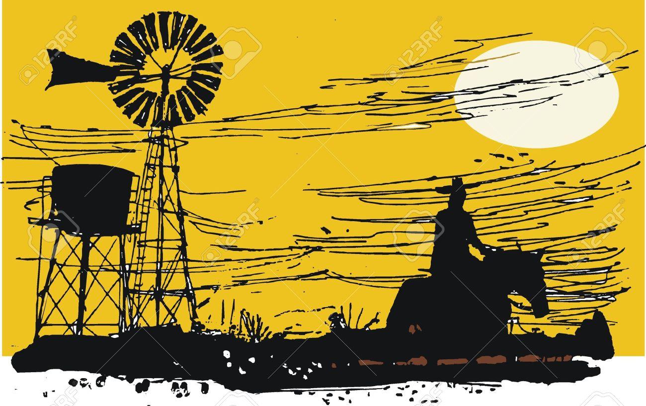 Australian outback rider illustration - 9318400