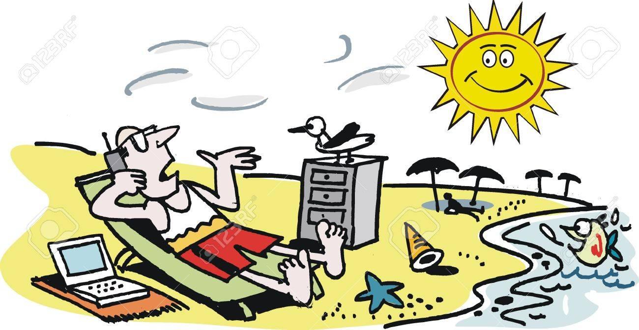 Vector cartoon of businessman on beach Stock Vector - 9951849