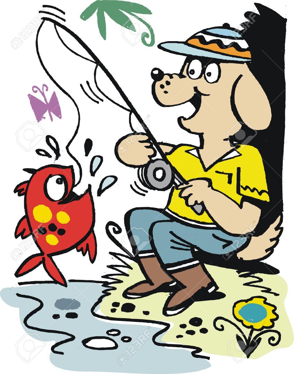 cartoon of happy dog with fishing rod Stock Vector - 10045549