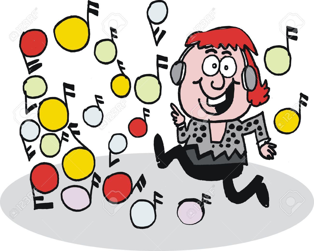 caricatura de hombre escuchando música Foto de archivo - 10045535