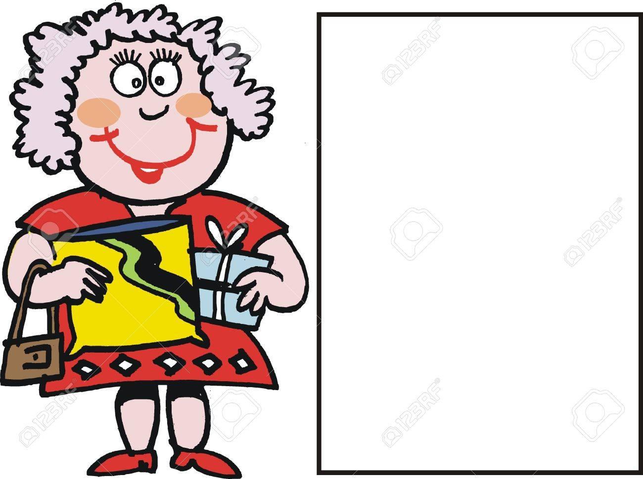 Happy woman shopper cartoon Stock Vector - 10294862