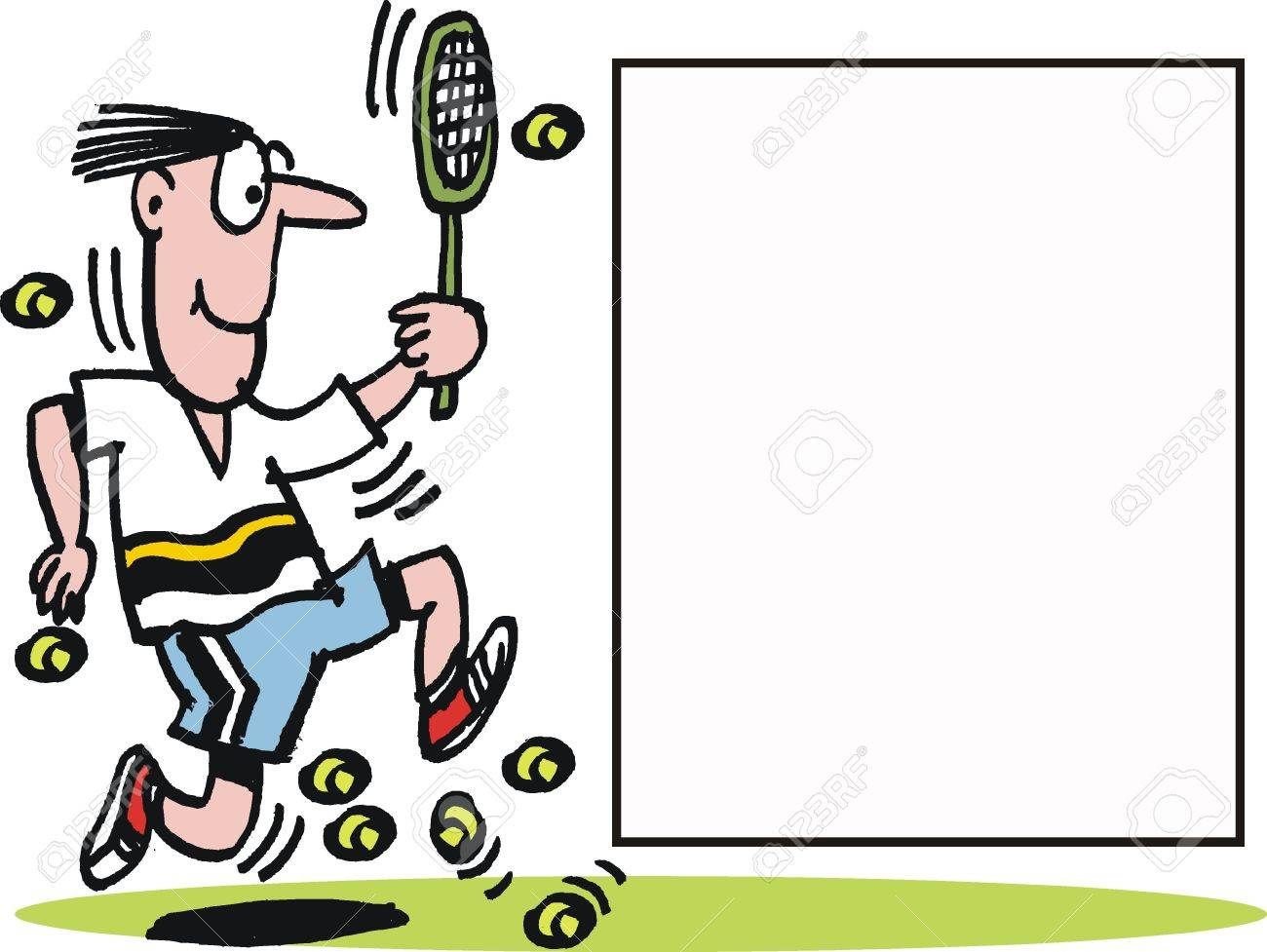 Vector cartoon of running tennis player Stock Vector - 10322556