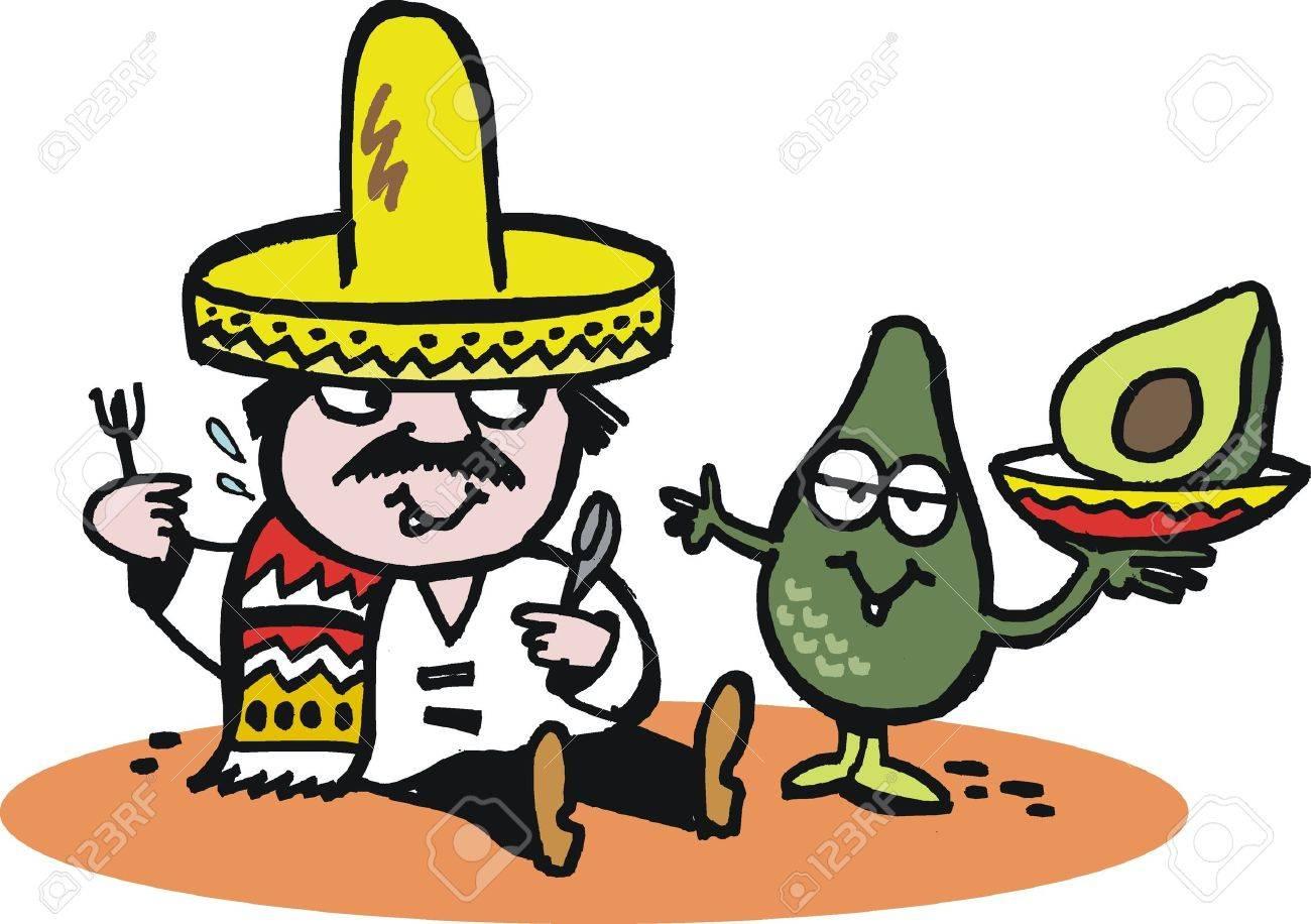 Vector cartoon of Mexican man with avocado. Stock Vector - 10362903