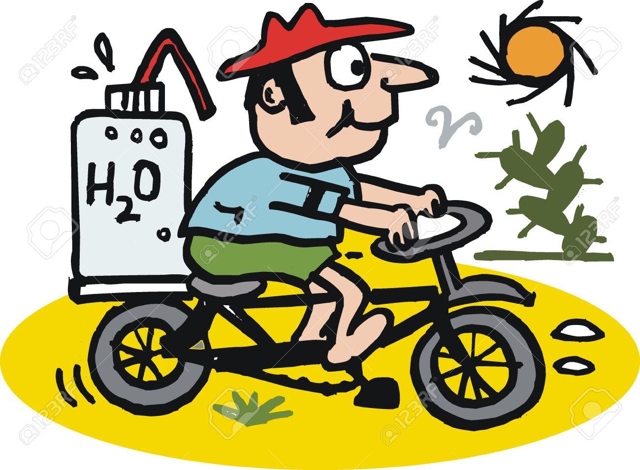 Vector cartoon of man riding bicycle in desert Stock Vector - 10388558