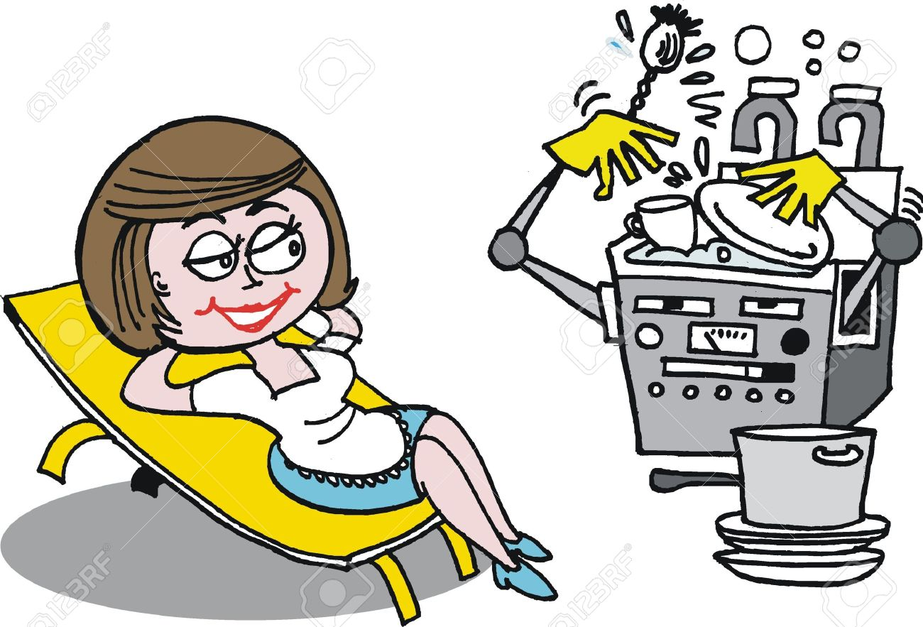Cartoon Of Housewife Relaxing From Kitchen Chores Royalty Free ...