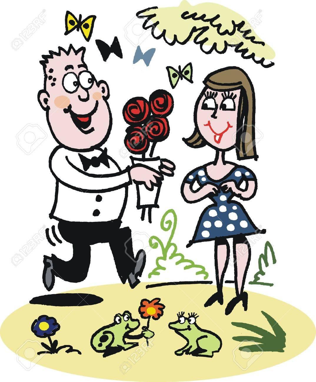 Caricature Homme caricature de l'homme donnant des roses à la femme clip art libres