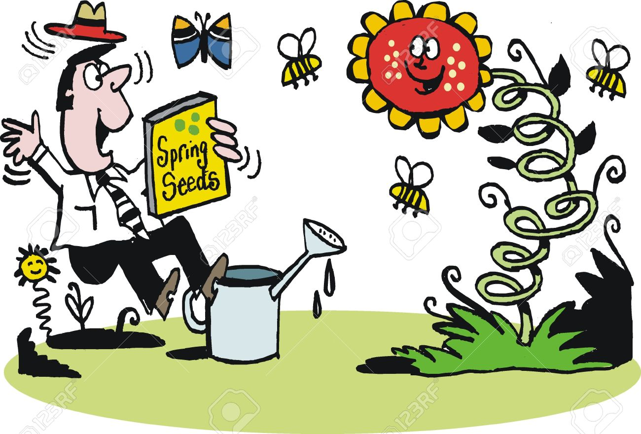 Cartoon of man planting spring flowers royalty free cliparts cartoon of man planting spring flowers stock vector 10490203 mightylinksfo