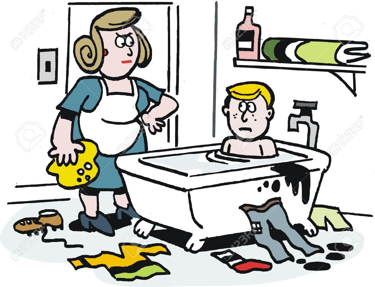 Cartoon Von Verärgerten Mutter Mit Sohn Im Badezimmer Lizenzfrei ...