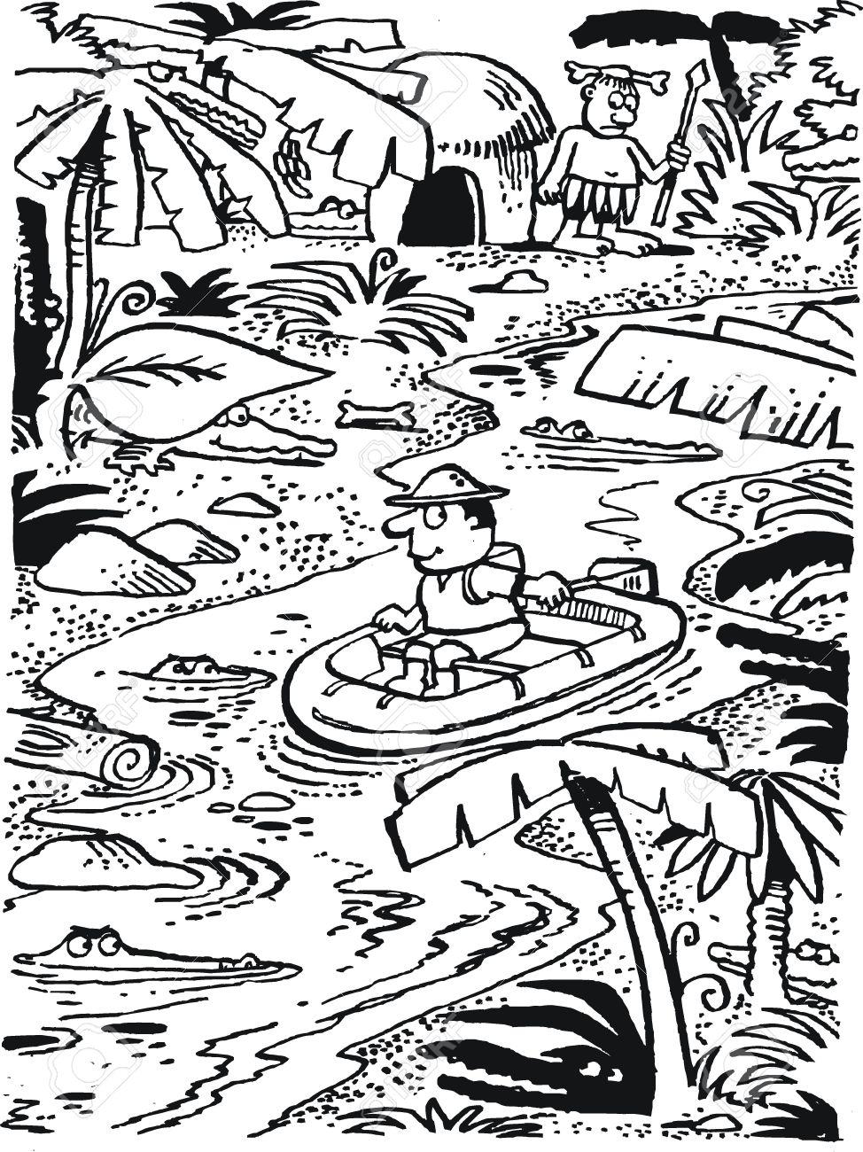 cartoon of explorer in jungle river Stock Vector - 10863984
