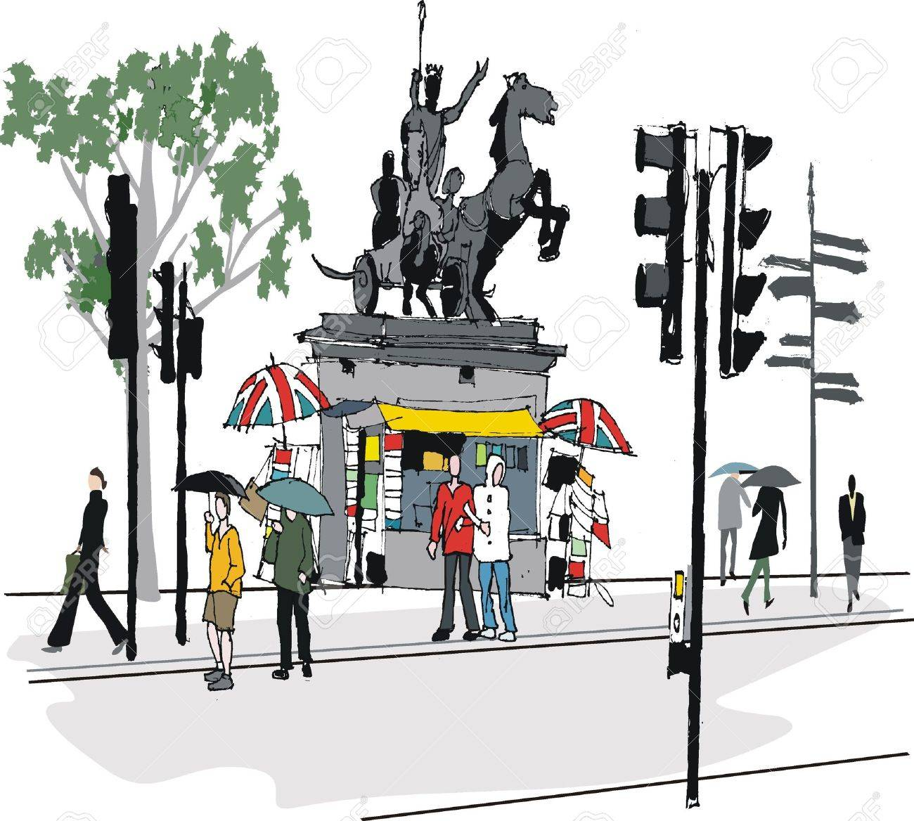 illustration of London statue and pedestrians Stock Vector - 11020375
