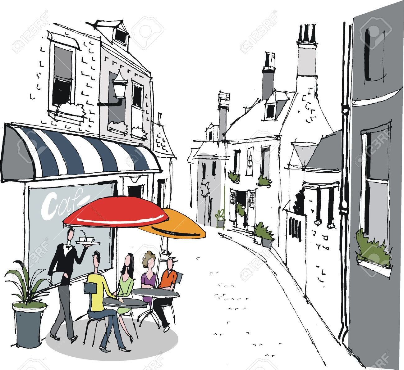 Illustration Of French Cafe Street Scene Royalty Free Cliparts ...