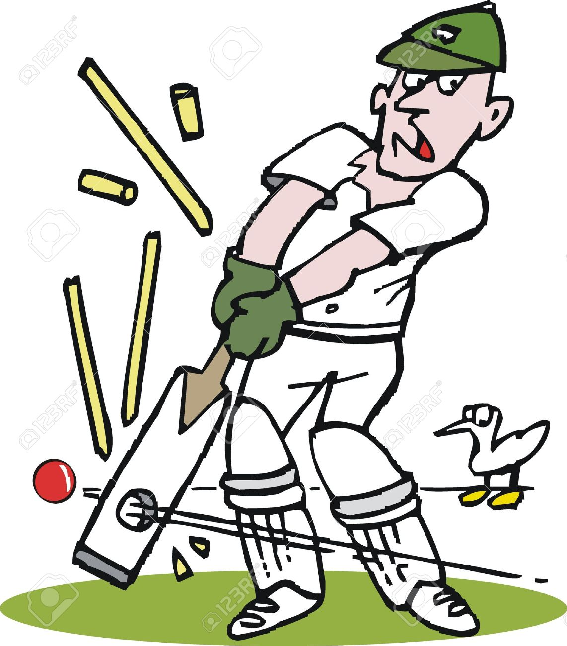 vector cartoon of cricketer being bowled out royalty free cliparts