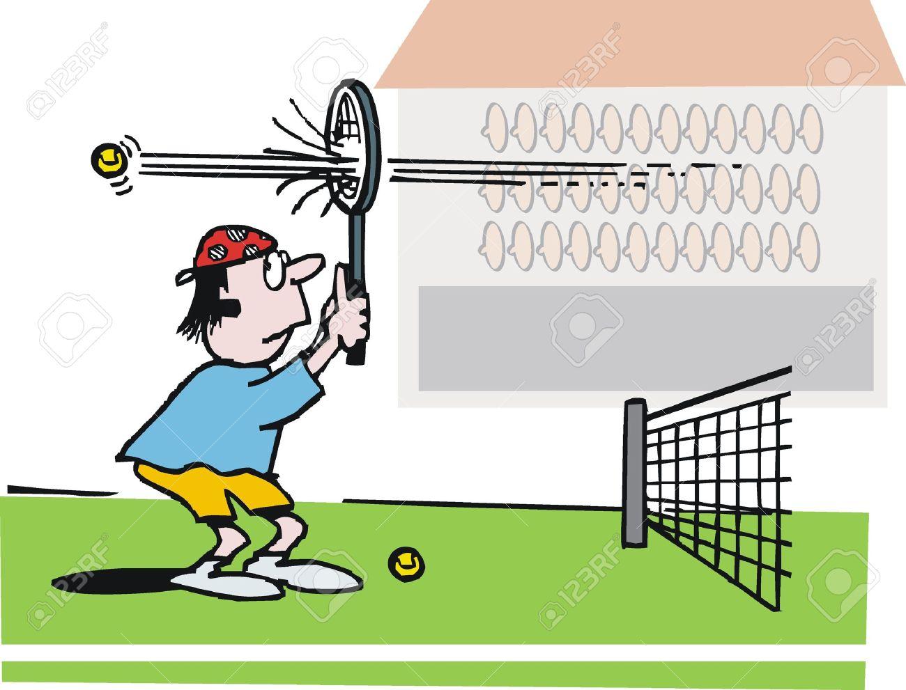 Vector cartoon of bewildered tennis player. Stock Vector - 11118952