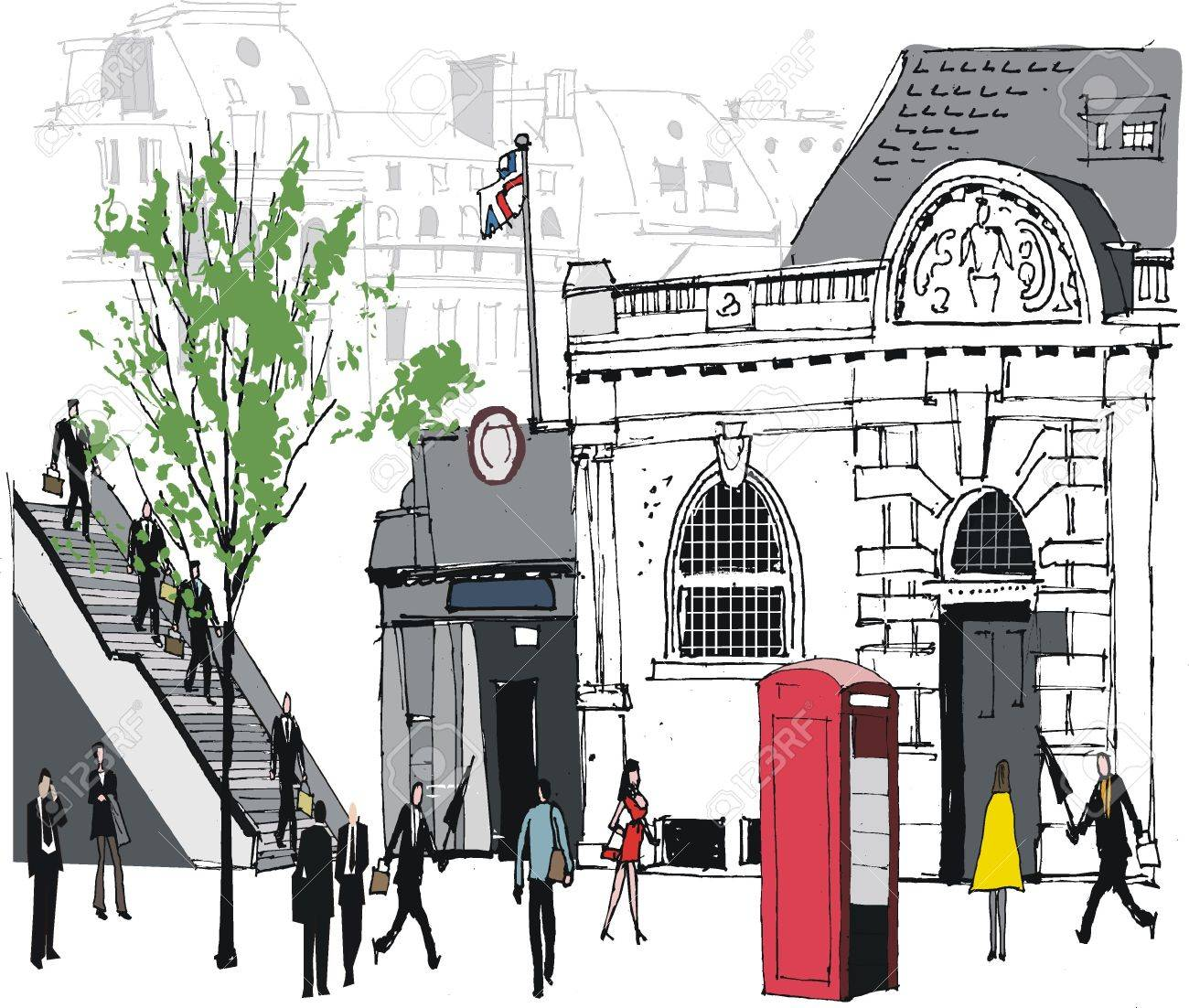 Vector illustration  of people at railway station, London Stock Vector - 11177308