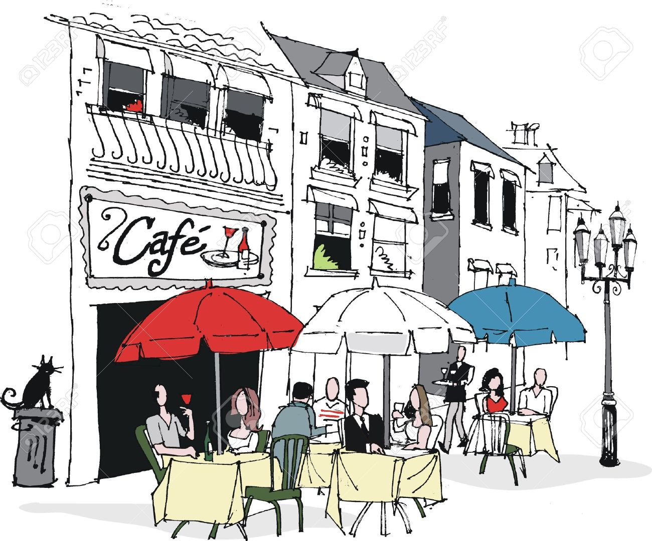 vector illustration of french cafe scene royalty free cliparts rh 123rf com Cafe Clip Art Graphic Cafe Clip Art Graphic