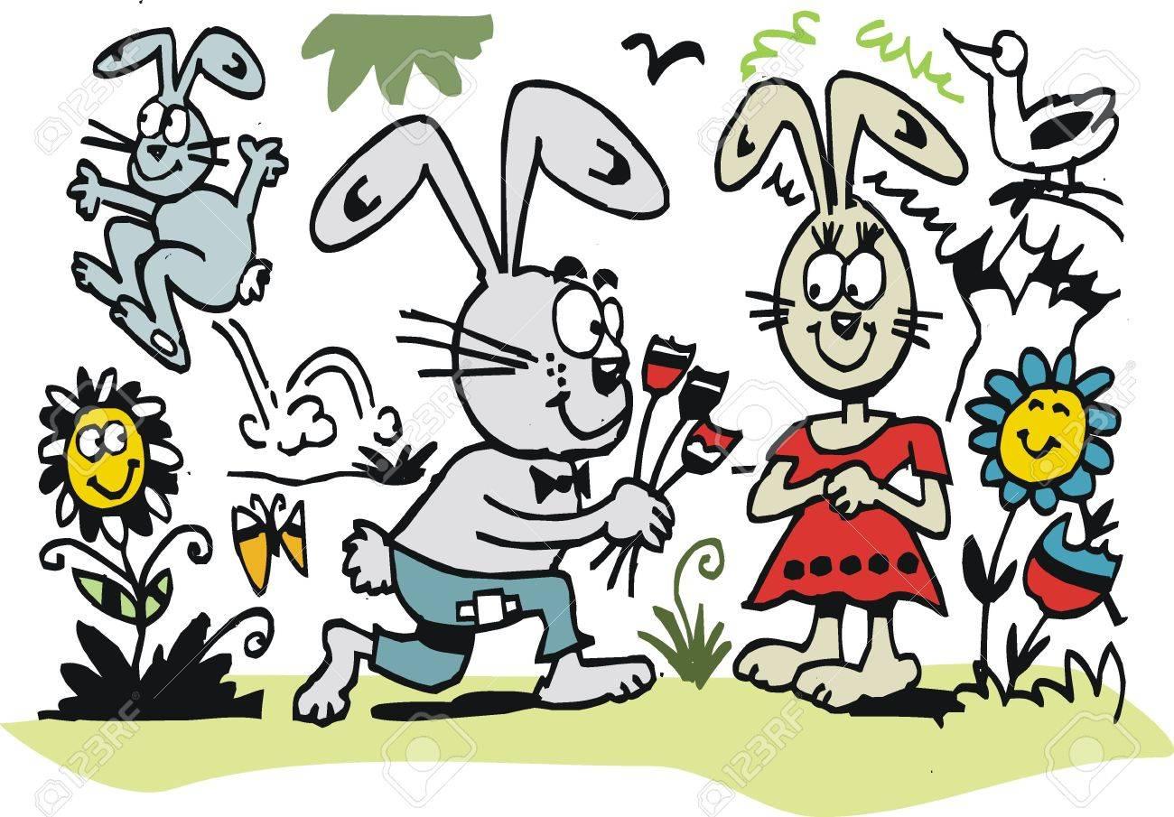 Vector cartoon of boy rabbit proposing to girl rabbit. Stock Vector - 11285407
