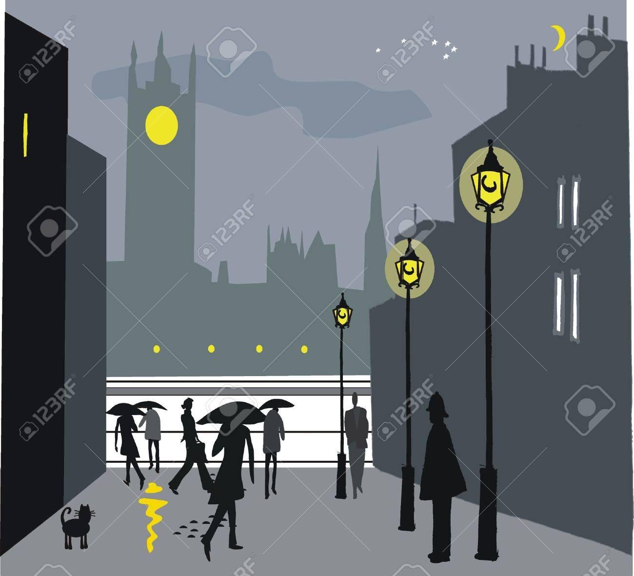 Vector illustration of London pedestrians in rain at night Stock Vector - 11464847