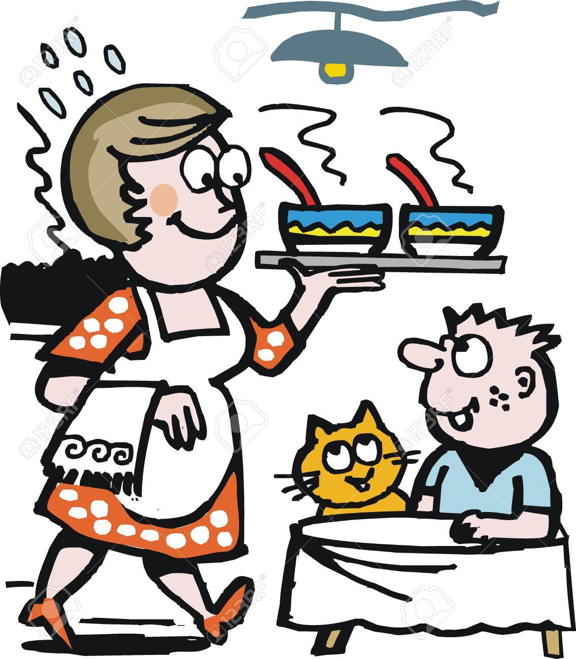 Vector cartoon of happy housewife serving soup Stock Vector - 11464846