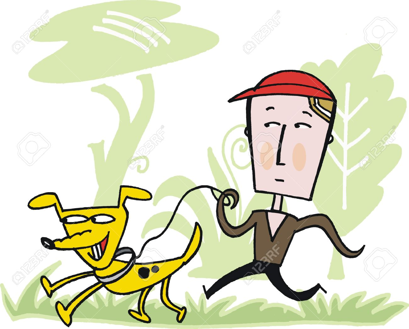 Vector cartoon of man taking dog for walk Stock Vector - 11464853