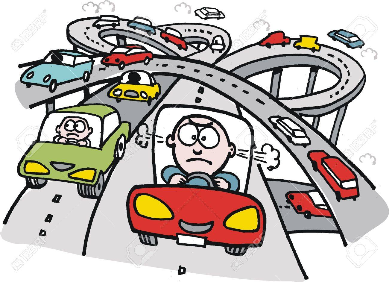 cartoon of frustrated motorist on freeway Stock Vector - 12233362